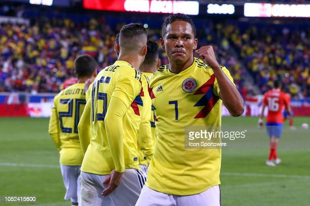 Colombia forward Carlos Bacca celebrates after scoring during the first half of the International Friendly Soccer Game between Colombia and Costa...