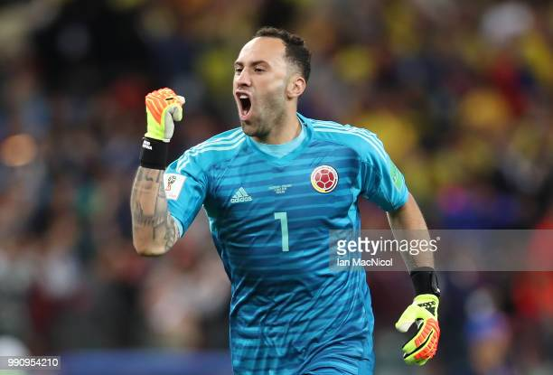 Colombia goalkeeper David Ospina celebrates after Yerry Mina of Colombia scores the first goal for his team during the 2018 FIFA World Cup Russia...