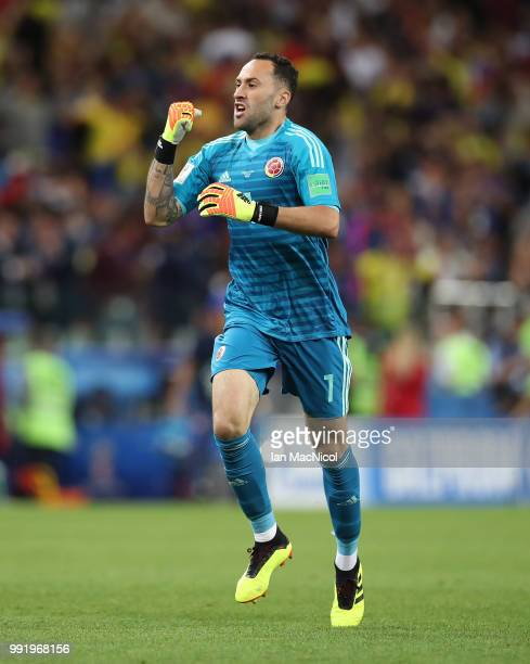 Colombia goalkeeper David Ospina is seen after his team equalize during the 2018 FIFA World Cup Russia Round of 16 match between Colombia and England...