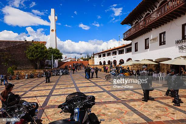 colombia harley group meet on plaza guatavita - cundinamarca stock pictures, royalty-free photos & images