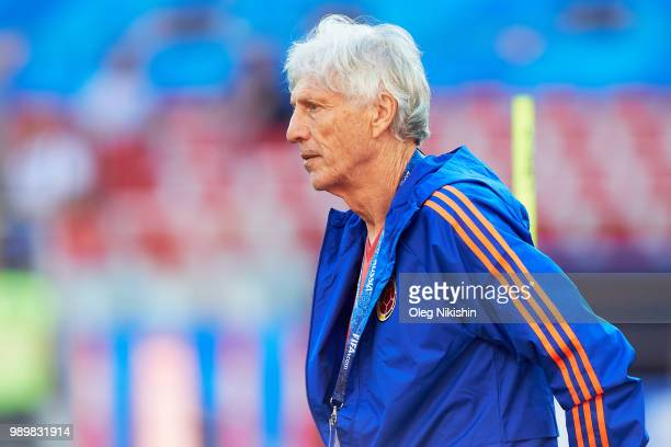 Colombia head coach Jose Pekerman observes during a training session at the 2018 FIFA World Cup at Spartak Stadium on July 2 2018 in Moscow Russia