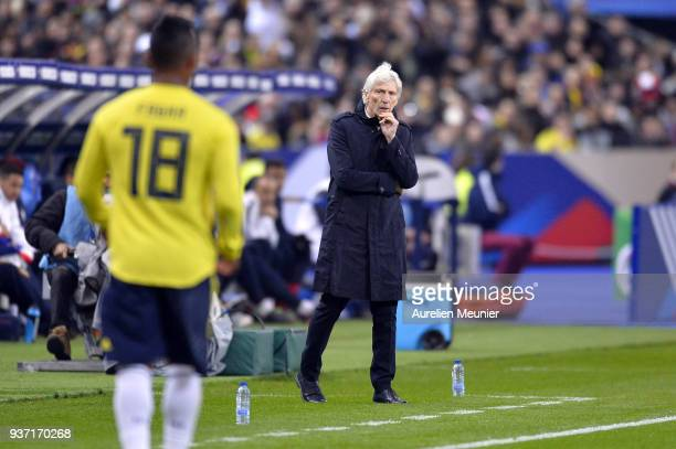 Colombia Head Coach Jose Pekerman reacts during the international friendly match between France and Colombia at Stade de France on March 23 2018 in...