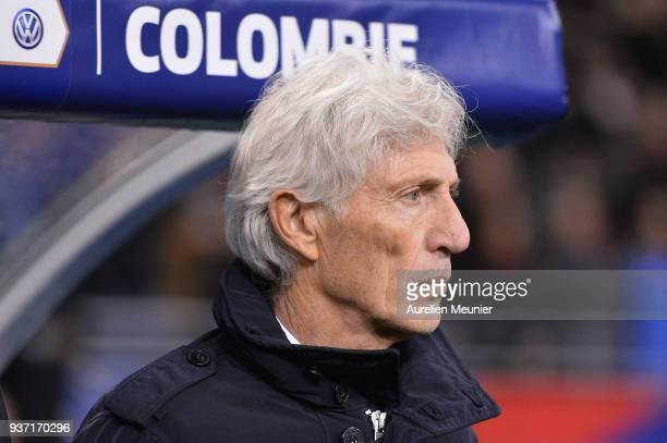 Colombia Head Coach Jose Pekerman reacts during the National Anthem before the international friendly match between France and Colombia at Stade de...