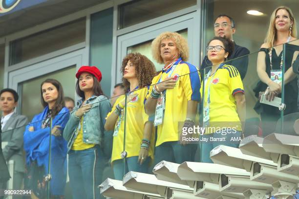 Colombia legend Carlos Valderrama looks on prior to the 2018 FIFA World Cup Russia Round of 16 match between Colombia and England at Spartak Stadium...
