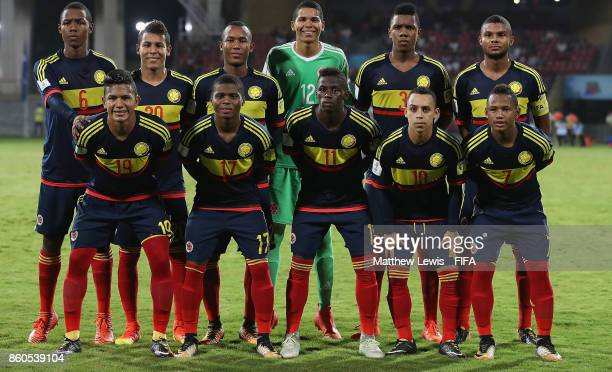Colombia line up against USA ahead of the FIFA U17 World Cup India 2017 group B match between USA and Colombia at Dr DY Patil Cricket Stadium on...