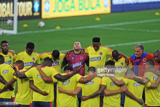 Colombia national soccer team players during practice on Thursday Sept 5 at Hard Rock Stadium in Miami Gardens Fla in preparation for international...