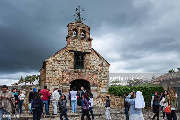 colombia - people at chapel of santa barbara in tabio - cundinamarca stock pictures, royalty-free photos & images