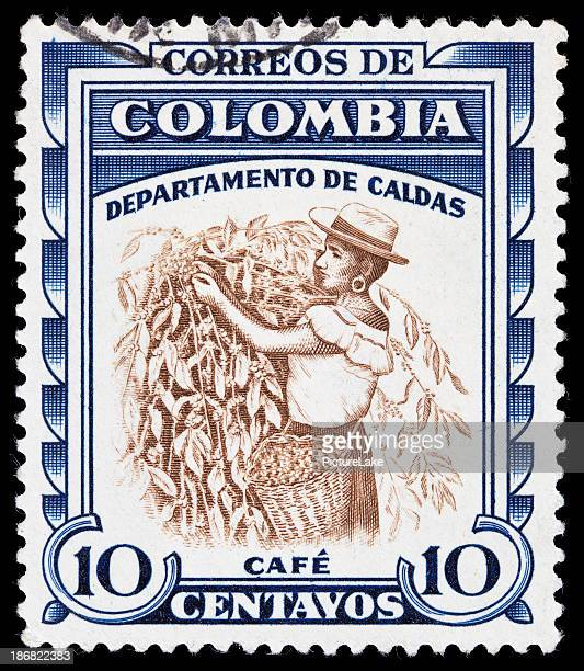 Colombia picking coffee beans postage stamp