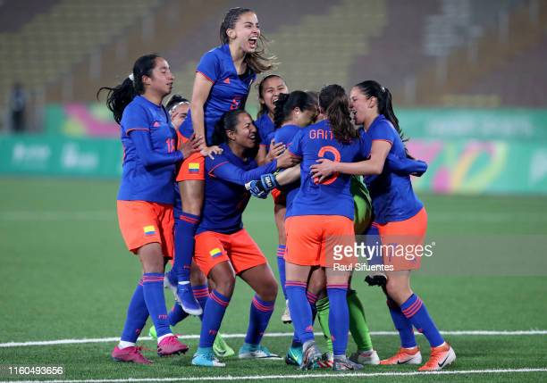Colombia players celebrate during the Women's Football final match between Colombia and Argentina on Day 14 of Lima 2019 Pan American Games at San...