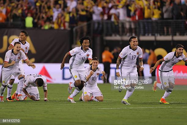Colombia players react to Peru's final penalty miss to win the penalty shoot out from left Santiago Arias Carlos Bacca Jeison Murillo Juan Cuadrado...