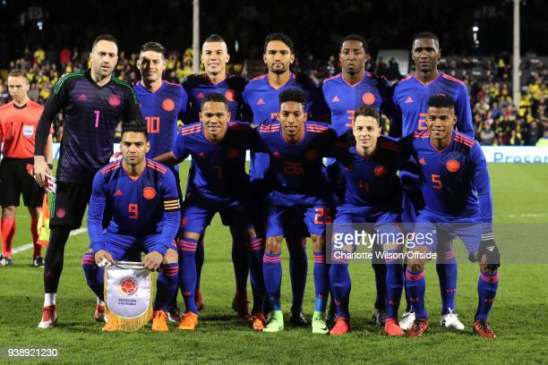 Colombia pose for a team photo during the International Friendly match between Australia and Colombia at Craven Cottage on March 27 2018 in London...