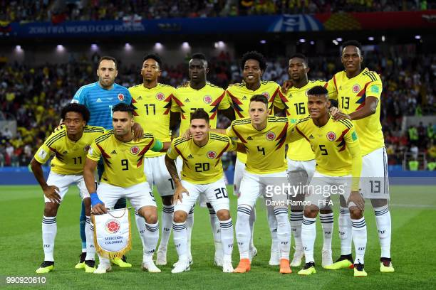 Colombia pose for a team photo prior to the 2018 FIFA World Cup Russia Round of 16 match between Colombia and England at Spartak Stadium on July 3...