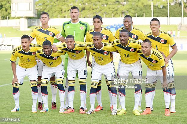 Colombia pose for a team photo prior to the U19 match between Shizuoka Youth selections and Colombia during SBS Cup International Youth Soccer at...