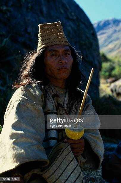 Colombia Sierra Nevada de Santa Marta Valley of Surlivaka Kogi mama priest Juan Vacuna wearing distinctive woven fique cactus fiber hat at religious...