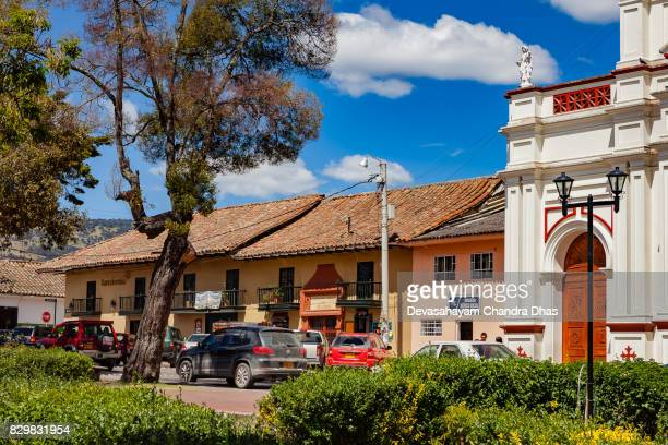 colombia, south america - a corner of  town square in the andes town of subachoque - cundinamarca stock pictures, royalty-free photos & images