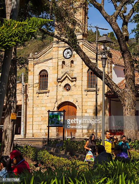 Colombia, South America: Church on plaza in 16th Century Sopó
