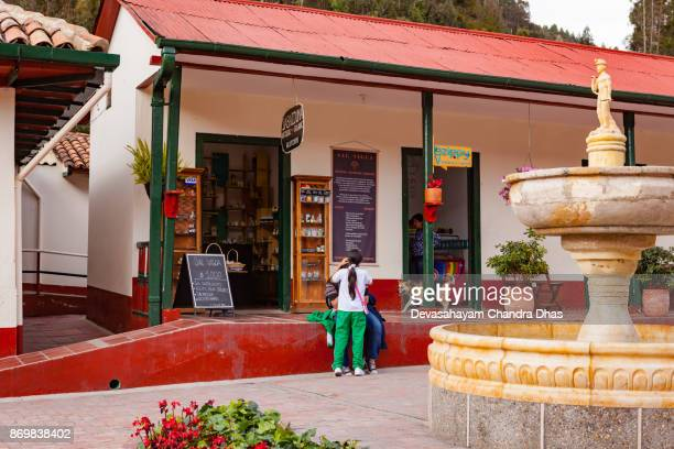 Colombia, South America - Late Afternoon Shot Of Shops Outside the Halite Mine in The Town of Nemocón