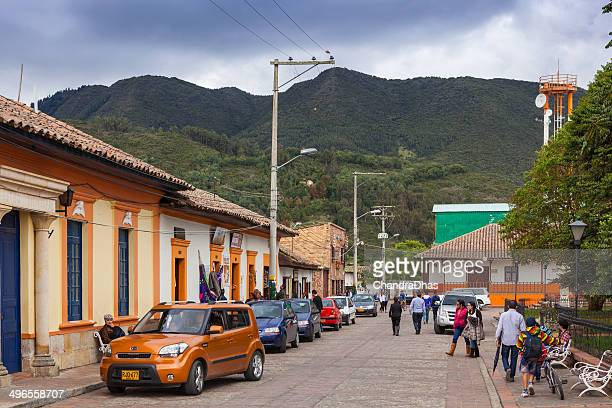 colombia, south america - people on tabio town square - cundinamarca stock pictures, royalty-free photos & images