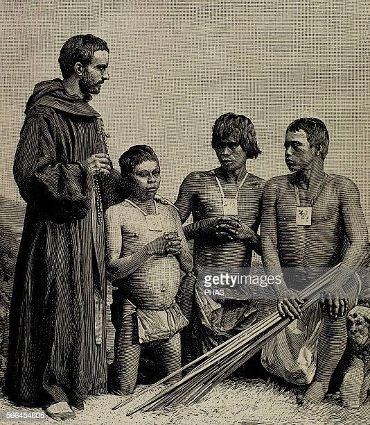 Colombia Spanish Mission Augustinian Recollect friar converting Guahibos Indians Engraving 1887
