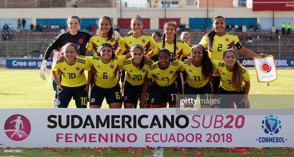 Colombia team during the game between Colombia vs Paraguay, played at the Fernando Guerrero Stadium by the Sudamericano Femenino U20, in Riobamba, Ecuador, Saturday, January 13, 2018.