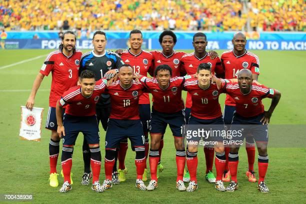 Colombia team group shot Top Row Mario Yepes Goalkeeper David Ospina Fredy Guarin Cristian Zapata Osvaldo Minda Bottom Row Teofilo Gutierrez Juan...