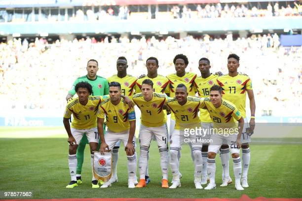 Colombia team lines up prior to the 2018 FIFA World Cup Russia group H match between Colombia and Japan at Mordovia Arena on June 19 2018 in Saransk...