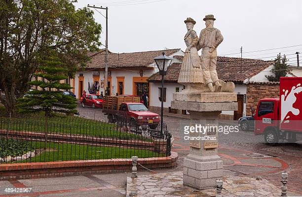 colombia - town square in tabio; colonial architecture - cundinamarca stock pictures, royalty-free photos & images