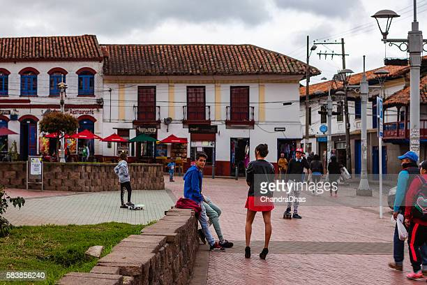 Colombia, Zipaquirá: dance steps for photographer on Independence Square.