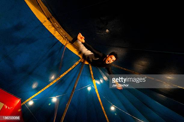 Colombian acrobat trains at the trapeze at the Circo Anny a familyrun circus wandering the Amazon region of Ecuador on July 04 2010 in Amazonia...