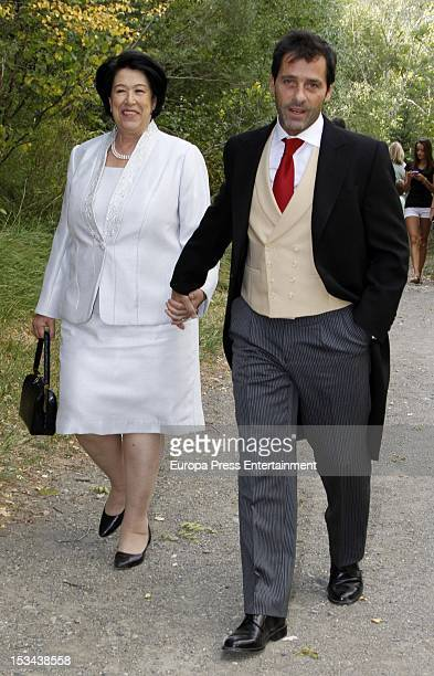 Colombian actor Juan Pablo Shuk attends his wedding with Ana De La Lastra on September 22 2012 in Biescas Spain