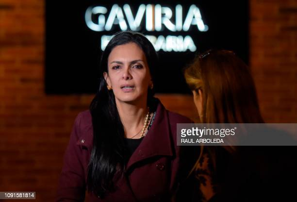Colombian actress Marcela Posada attends the funeral in Bogota on January 30 2019 of Colombian TV series and soap opera screenwriter Fernando Gaitan...