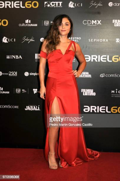 Colombian actress Martina García poses during the Red Carpet of 60th Ariel Awards at Palacio de Bellas Artes on June 5 2018 in Mexico City Mexico
