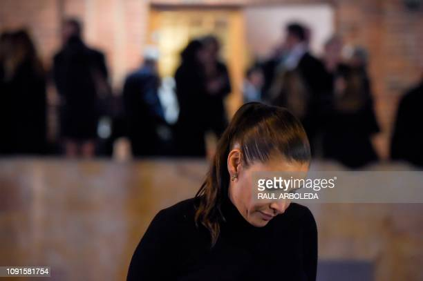 Colombian actress Natalia Ramirez attends the funeral in Bogota on January 30 2019 of Colombian TV series and soap opera screenwriter Fernando Gaitan...