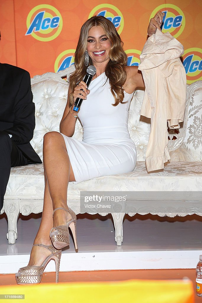 Colombian actress Sofia Vergara speaks during the Ace campaign press conference at Four Seasons Hotel on June 26, 2013 in Mexico City, Mexico.