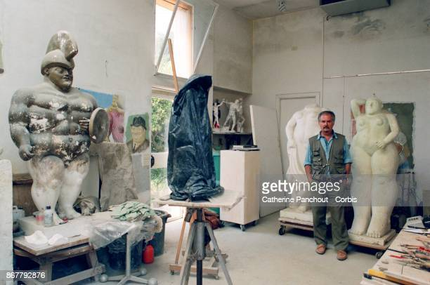 Colombian artist Fernando Botero at his house and studio workshop in July 1995 in Pietra Santa Tuscany Italy