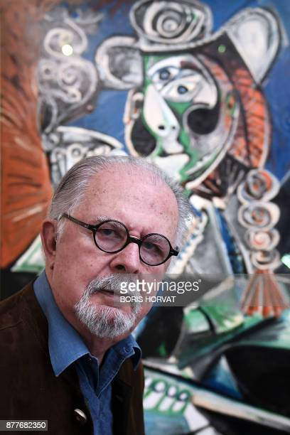 Colombian artist Fernando Botero poses on November 22 at the Hotel de Caumont in Aix en Provence southern France as he prepares the exhibition Botero...