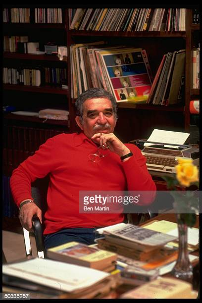 Colombian author Gabriel Garcia Marquez in affable portrait at his desk
