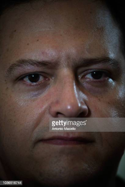 Colombian author Sebastián Marroquín son of the drug trafficker Pablo Escobar meets the foreign press on September 20 2018 in Rome Italy