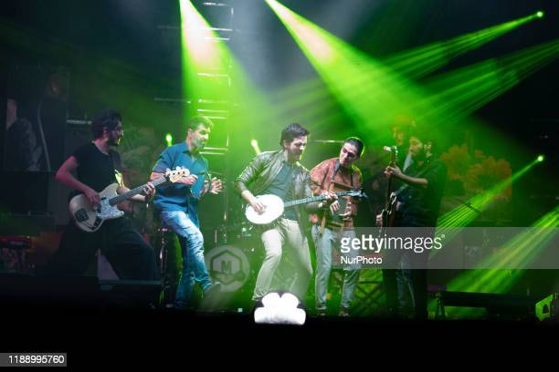 Colombian band Morat perform during a concert as part of his tour 'Balas Perdidas' at WiZink Center in Madrid Spain 15 December 2019