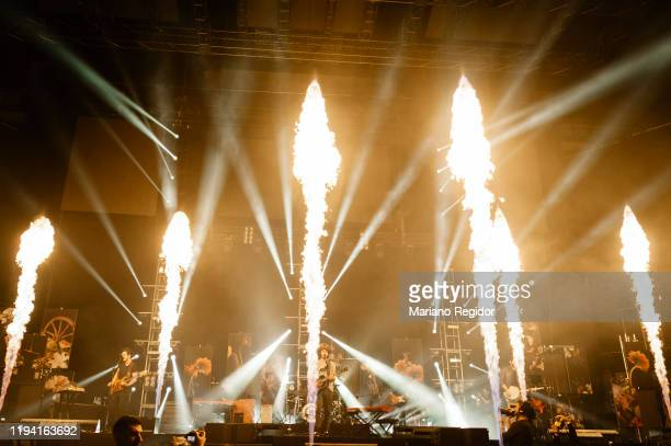 Colombian band Morat perform onstage at Wizink Center on December 15 2019 in Madrid Spain