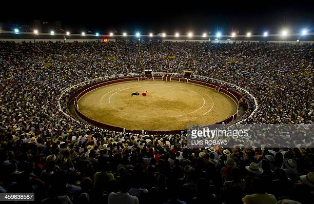 Colombian bullfighter Luis Bolivar performs a capote pass during a bullfight at the Canaveralejo bullring in Cali on December 28 2013 AFP PHOTO/Luis...