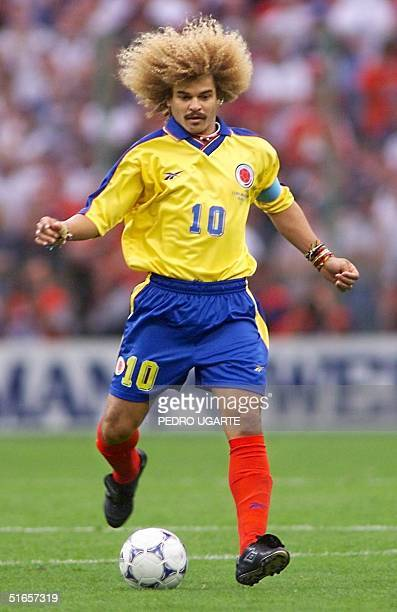 Colombian captain Carlos Valderrama controls the ball 26 June at the Felix Bollaert stadium in Lens northern France during the 1998 Soccer World Cup...