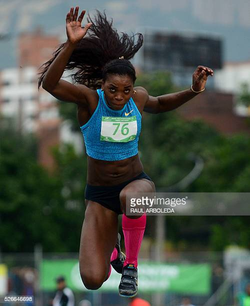 TOPSHOT Colombian Caterine Ibarguen competes in the women's triple jump during the Ximena Restrepo International Athletics Grand Prix on April 30 in...