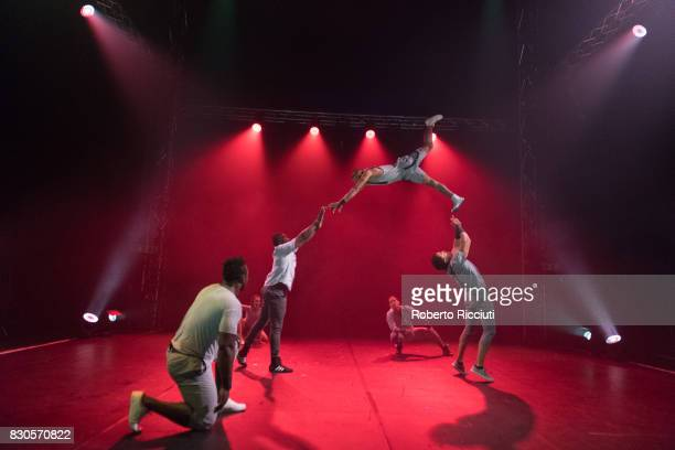 Colombian circus company Circolombia perform 'Acelere' on stage at The Underbelly Circus Hub during the 70th edition of the Edinburgh Fringe Festival...