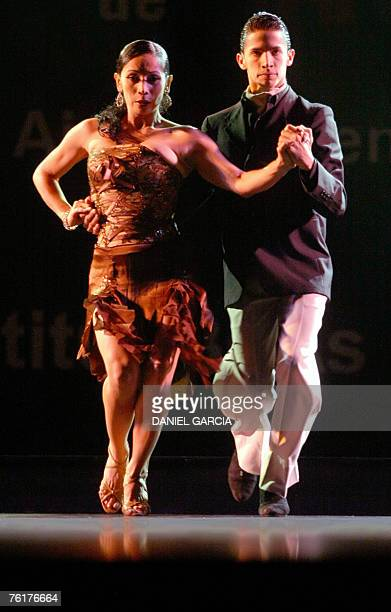 Colombian couple Cristian Cerezo Uribe and Sandra Cruz Vergara from Cali perform during the qualifying round of the Stage Tango competition 18 August...
