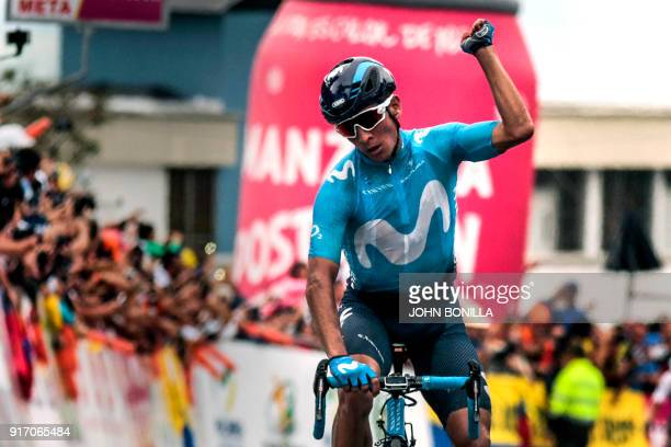 Colombian cyclist Dayer Quintana of the Movistar Team celebrates after crossing the finish line during the Colombia Oro y Paz cycling race sixth...