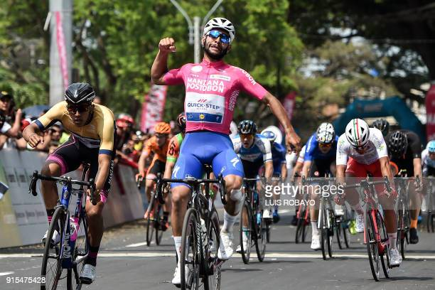 Colombian cyclist Fernando Gaviria celebrates after crossing the final line during the 'Colombia Oro y Paz 21' cycling race on February 7 in Palmira...
