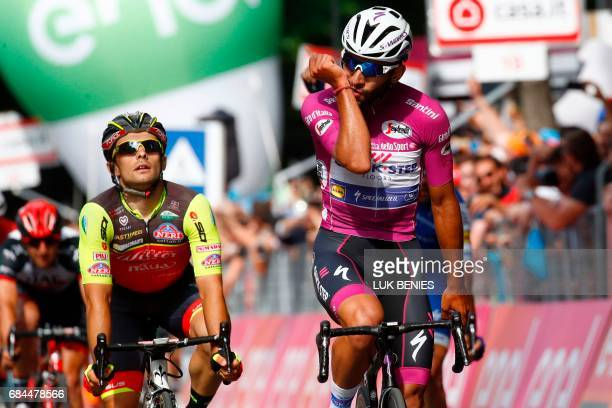 Colombian cyclist Fernando Gaviria from QuickStep Floors crosses the finish line to win the 12th stage of the 100th Giro d'Italia Tour of Italy...