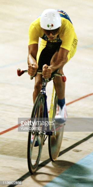 Colombian cyclist Jairo Perez 11 August competes in the Pachencho Romero stadium in Maracaibo Venzuela Gonzalez won the 4000 meter individual cycling...