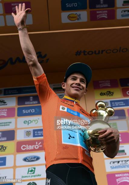 Colombian cyclist Miguel Angel Lopez of Team Astana celebrates with the trophy after winning the Tour Colombia 21 in Medellin Antioquia department...